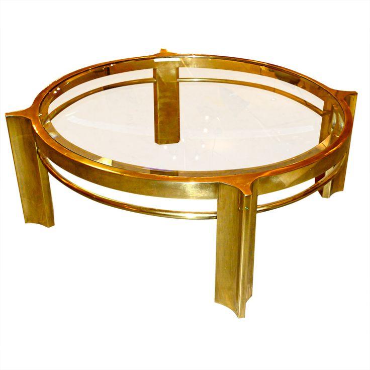 Mastercraft Furniture For Sale #36: Mastercraft Round Brass Cocktail Table