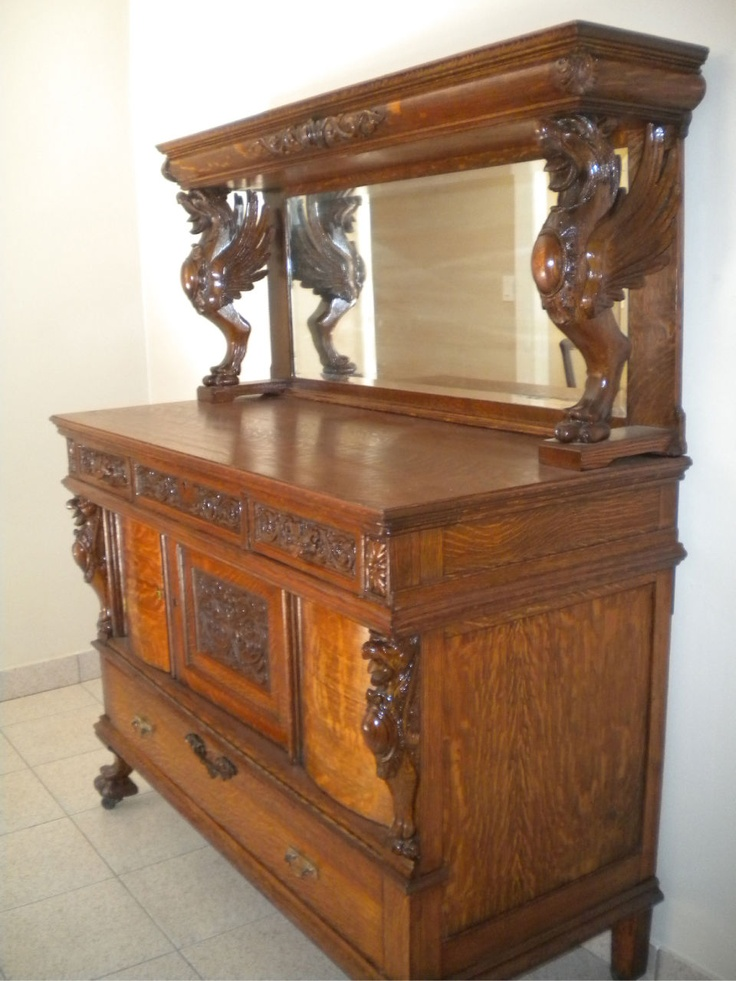 Antique 19th Tiger Oak Sideboard Probably Made by Horner  Tiger & burled oak are amazing!