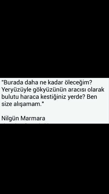 Ben size alışamam. Nilgün Marmara