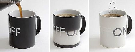 On & off mug! Color changes with heat, and changes back to white as its cooling.