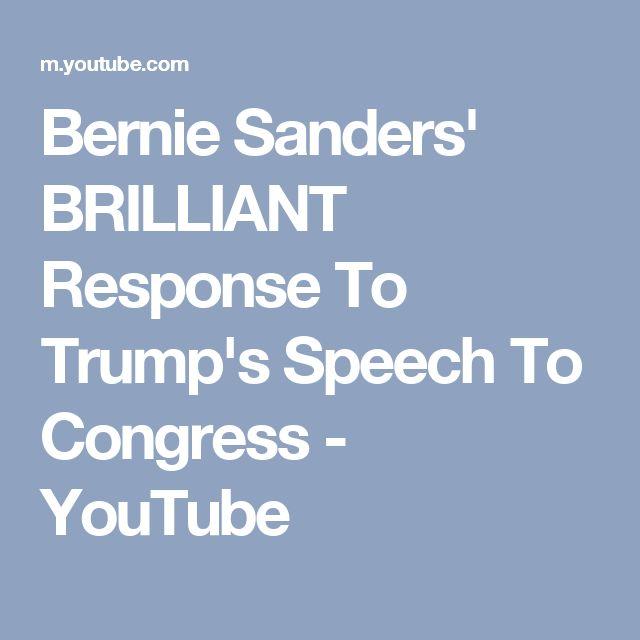 Bernie Sanders' BRILLIANT Response To Trump's Speech To Congress - YouTube