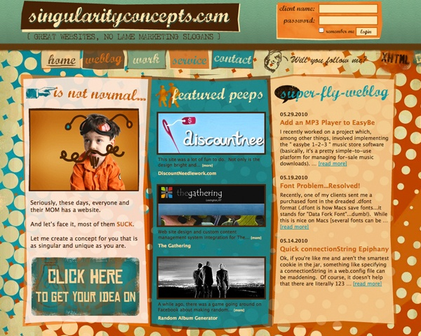 vintage 50s web site design singularityconceptscom