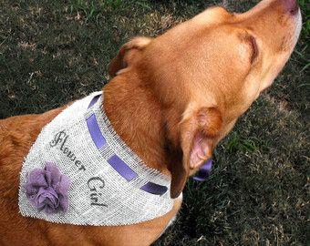 Dog Flower Girl Bandana, Burlap Pet Wedding Outfit, Wedding Dog Bandana, Customize color; Pink, Green, Purple, Red, Yellow, Turquoise