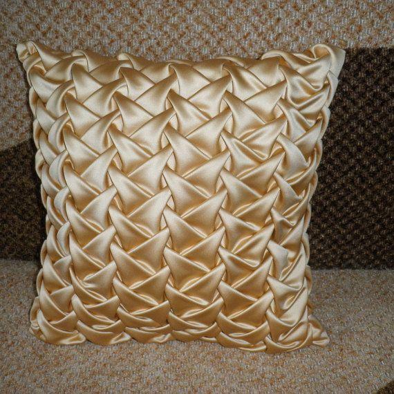 Smock Silk Cushion Gold Throw Pillow,Living Room Pillow,Gold Pillow,Decorative Gold Pillow Cover,Room decor ideas 16x16 inch