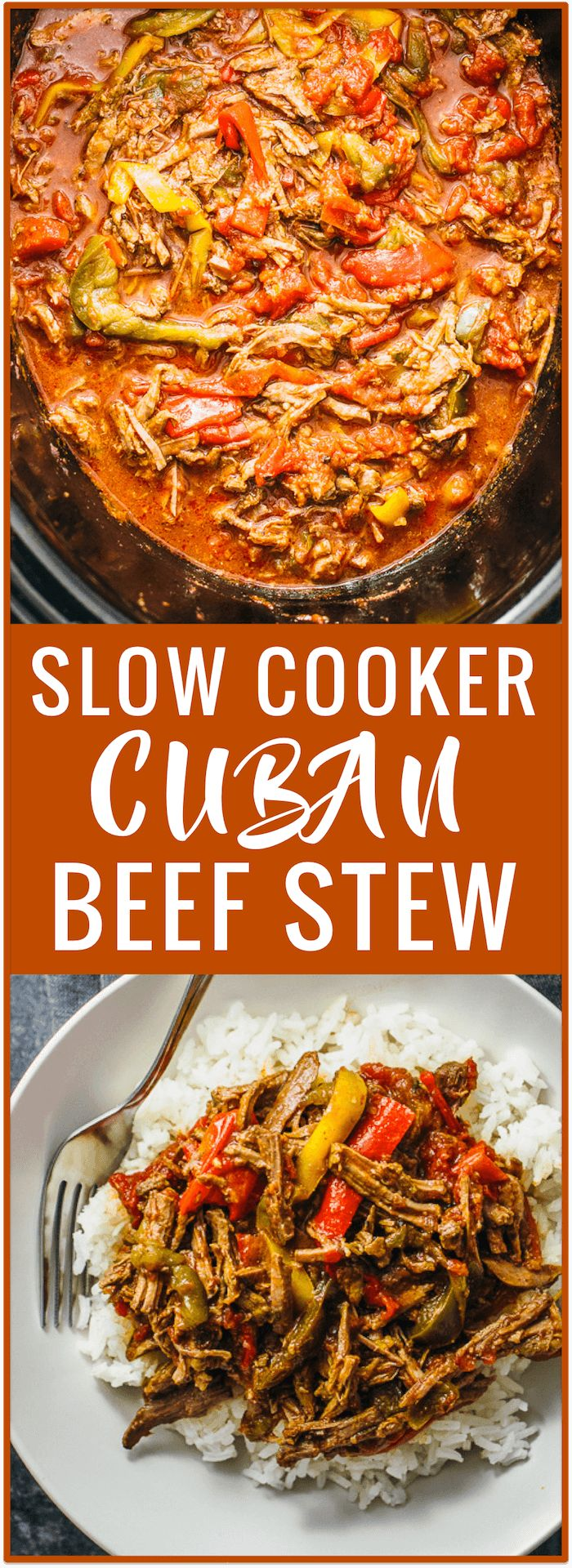 Ropa vieja slow cooker recipe: a comforting Cuban beef stew consisting of shredded beef, colored bell peppers, mild spices, and a tomato sauce. via @savory_tooth