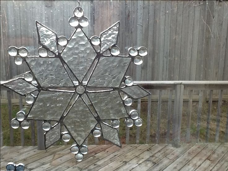 Clear snowflake by Sarah Sally Stained Glass