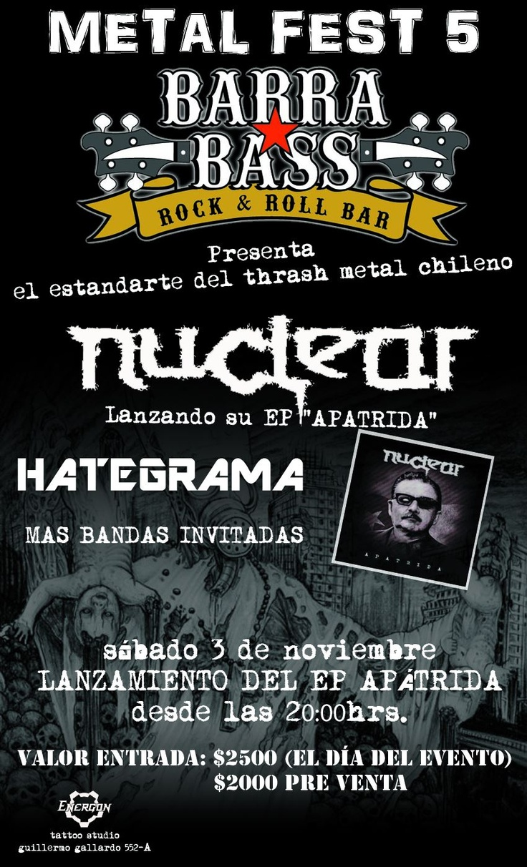 3 de Noviembre: Barra Bass Metal Fest V – Lanzamiento de Apatrida en Puerto Montt