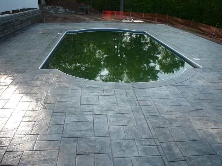 Stamped Concrete Pool Surround Someday We Ll Have A