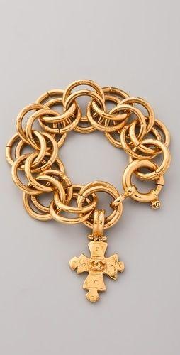 vintage cross charm bracelet | Chanel