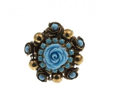 Ring with Swarovski strasses and bead, by Art Wear Dimitriadis -Handmade-