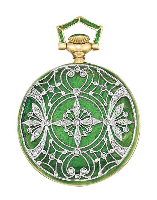 Edwardian gold, platinum, green guilloche enamel and diamond pendant-watch, Tiffany & Co, circa 1910.