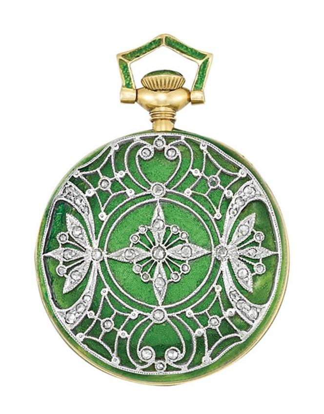 Edwardian gold, platinum, green guilloche enamel and diamond pendant-watch, Tiffany & Co, circa 1910.