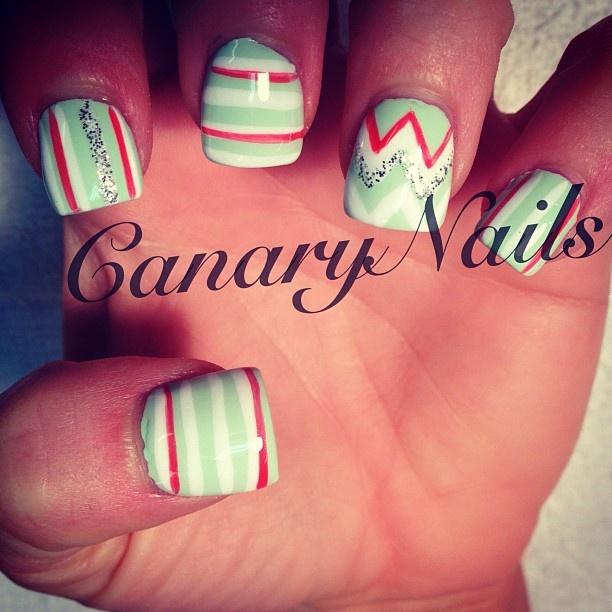 Mint, coral and white chevrons & stripes nail art design