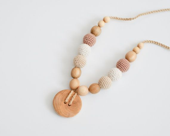 Cream & Beige Button Nursing Necklace - Juniper Wood - KangarooCare