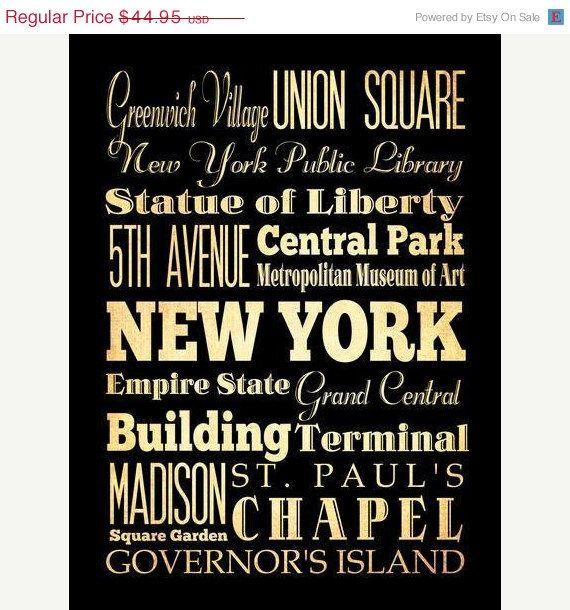 New York, New York, Typography Art Poster / Bus / Transit / Subway Roll Art 18X24 - New York's Attractions Wall Art Decoration -. $39.95, via Etsy.