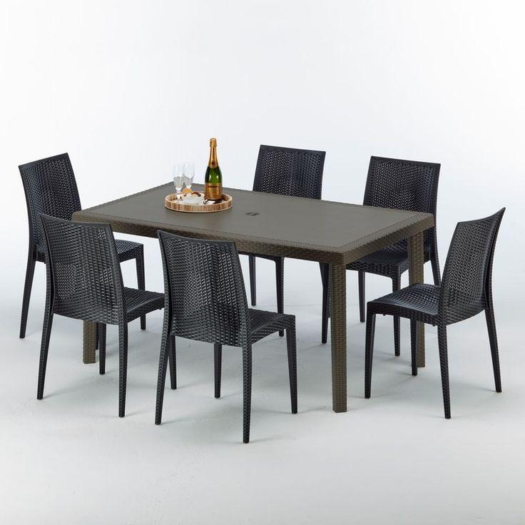 Tavoli Da Giardino In Resina Grand Soleil.Table Rectangulaire 6 Chaises Poly Rotin Resine 150x90 Marron