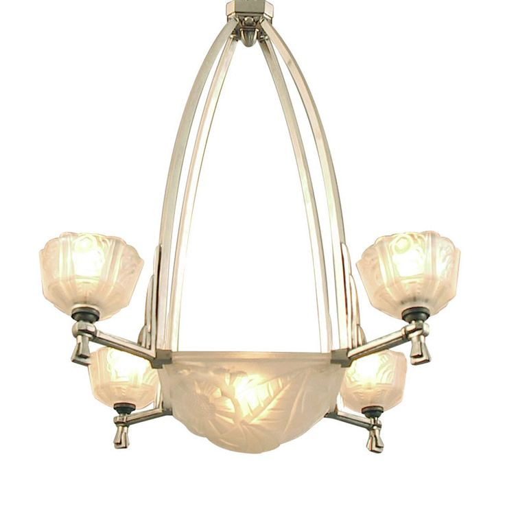 French Art Deco Chandelier By Degue Bowl And Four Lights