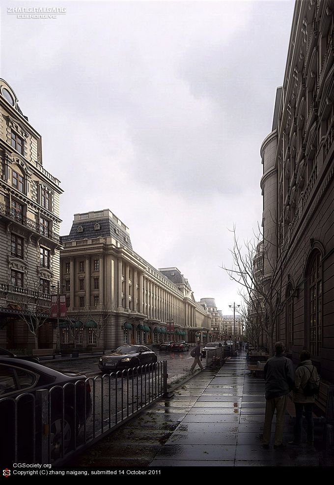 Title: Rain Street  Name: zhang naigang  Country: China  Software: 3ds max, Photoshop, VRay