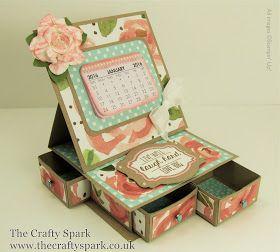 The Crafty Spark: Desktop Calendar and Organiser with English Garden Designer Series Paper - Great Gift