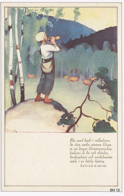 Postikorttien tarinoita: Kalevala: Martta Wendelin - Kalevala 12, Pieni paimenpoika  kutsuu karjaa koolle.