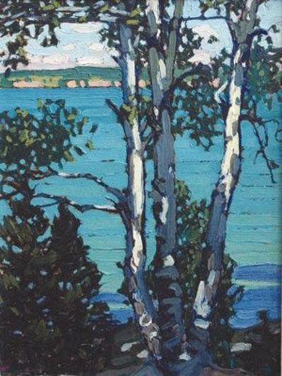 "Lawren Harris, ""Lake Simcoe"", oil on board, 1918. Harris was part of Canada's very talented ""Group of Seven"".  http://words.usask.ca/archived_ocn/08-mar-28/14.php   #landscape #painting #LawrenHarris #GroupofSeven #Canada"