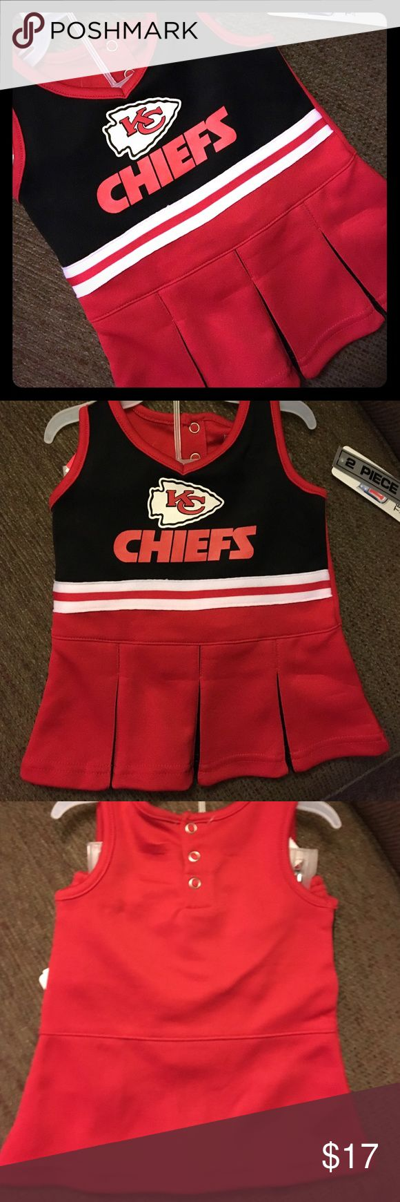 🏈NWT NFL Kansas City Chiefs 2-pc Set Sz 0-3M🏈 GO CHIEFS!! Just in time for the playoffs!! Dress your little lucky charm in this adorable Officially Licensed NFL set. Would be super cute with a white or red long sleeved onesie!! 🏈Brand NEW with tags 🏈2-piece set - dress & bloomers 🏈Easy dressing snaps in the back 🏈Please feel free to ask questions... NFL Matching Sets