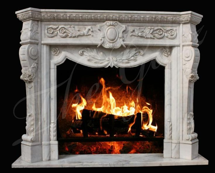 Elegant All Hand Carved White Marble Fireplace Mantel in Classic Roman Theme #1590