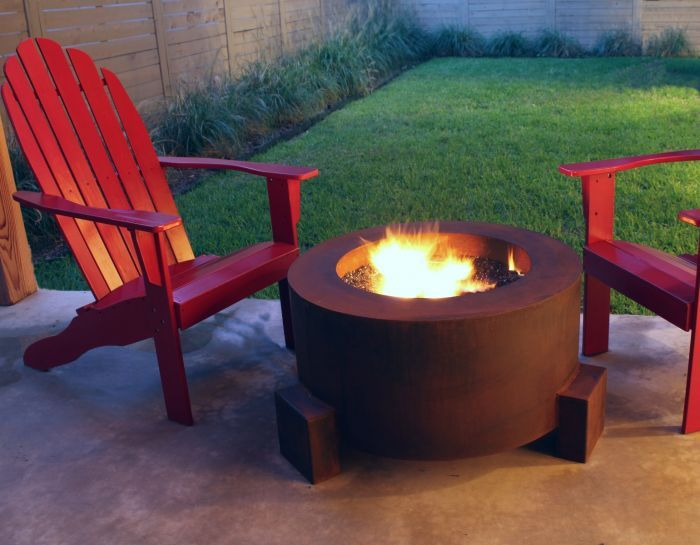 30 Inch Round Cor Ten Steel Fire Pit Natural Gas Or Remote Propane Outdoor Fire Pit Fire Pit Designs Fire Pit
