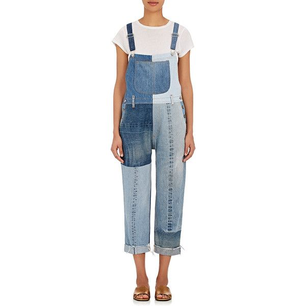 RE/DONE Women's Patchwork Denim Overalls (750 CAD) ❤ liked on Polyvore featuring jumpsuits, blue, blue bib overalls, blue jumpsuit, bib overalls, denim jumpsuit and blue denim overalls