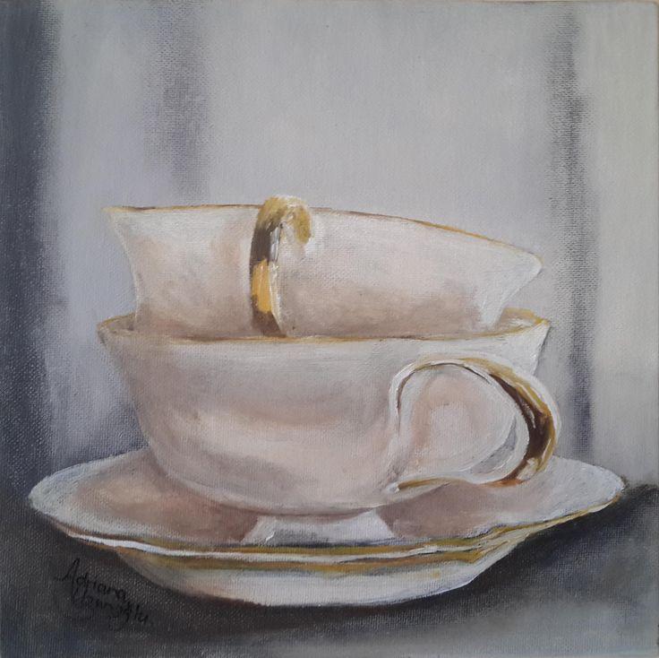 Teacup Series: Ivory & Gold Oil on Canvas Panel 254 X 254mm Artist: Adriana Uzunoglu