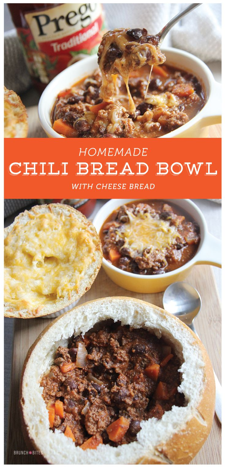 Nothing cheesy about this chili! Well except the cheesy bread! Homemade chili bread bowl, the perfect dinner for chilly Fall nights!