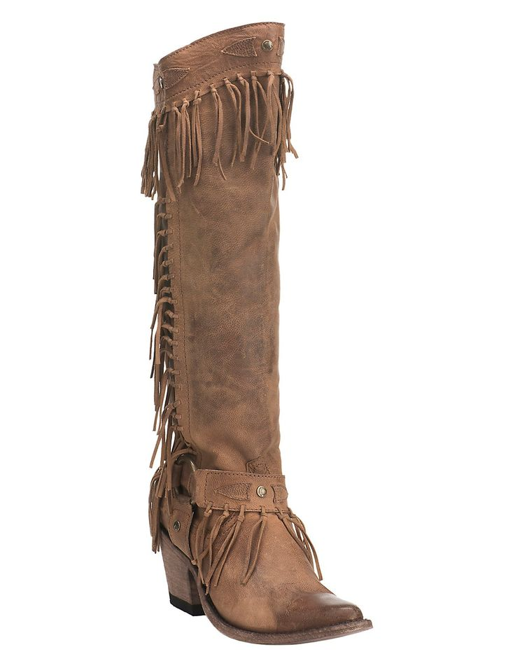 Cavender's by Old Gringo Women's Brown with Fringe and Gold Accents Fashion Snip Boots | Cavender's