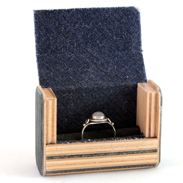 Wooden Ring Box   Recycled wood hand made from used skateboards.