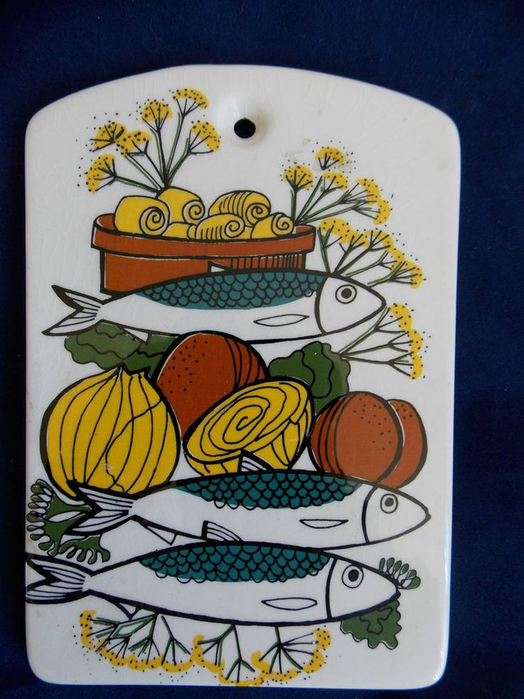 STAVANGERFLINT WALL PLAQUE Butter Dish ceramic Norwegian Norway fish vegetables