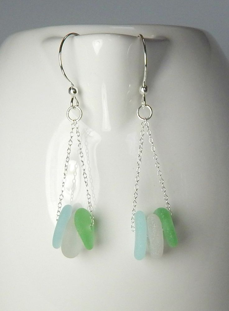 GENUINE Sea Glass Earrings / Beach Glass Earrings in Sea foam, White And Aqua Blue! Striking, all Sterling Silver and GENUINE, ocean-tumbled sea glass earrings! A trio of sea glass gems in sea foam, w