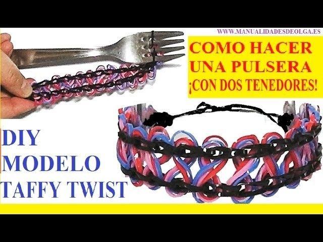 COMO HACER PULSERAS DE GOMITAS TAFFY TWIST SIN TELAR ¡CON DOS TENEDORES! sin usar Rainbow Loom