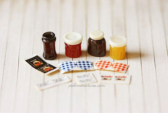 Dollhouse Supplies  Jam Coffee and Nutella by miniaturepatisserie