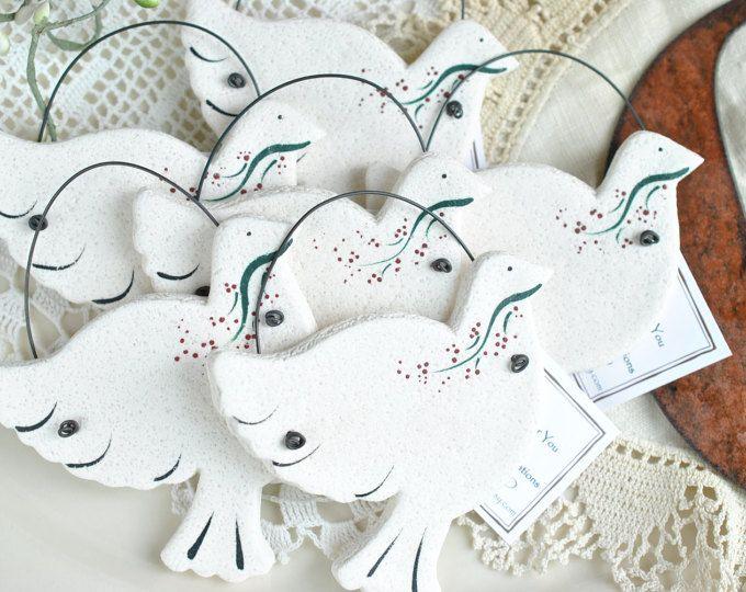 Dove Wedding / Baptism Gifts Salt Dough Ornaments Set of 10 Napkin Ring Favors