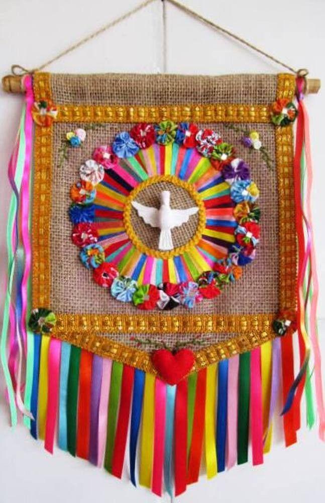 Estandarte - Divino Espírito Santo | Arte e Ofício Ateliê | Elo7