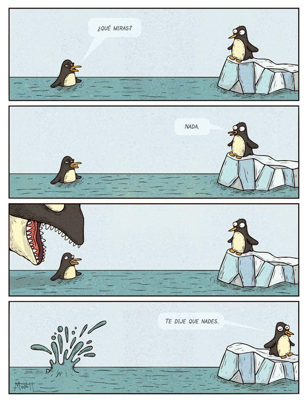 Esto es muy divertido y útil. Eso es lo que sucede cuando las palabras suenan igual pero tienen significados diferentes. Pobre pingüino!