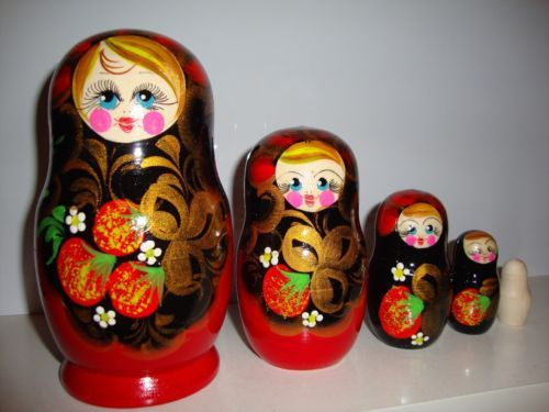 """RUSSIAN-HAND-PAINTED-NESTING-DOLL-BABUSHKA-MATRYOSHKA-5-pieces.What do you think, where and how should be made a real Russian nesting doll? Of course, in Russia, by Russian craftsmen, by hands of Russian artists and always with a Russian soul! That is what has made this beautiful, real Russian matryoshka.               Fifth, the smallest doll, especially not painted to show on what blanks paint dolls                            The height of the large doll: 5,9"""" (15cm)"""