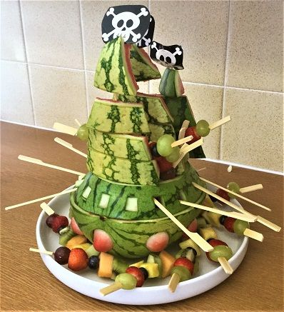 Ahoy me 'arties! Galleon watermelon with fruit skewers for a Pirate Themed kids party