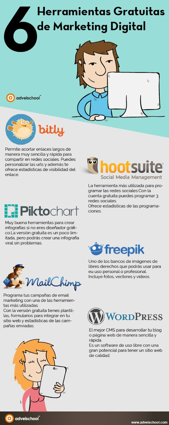 6 herramientas gratis para Marketing Digital #Infografico                                                                                                                                                                                 Más