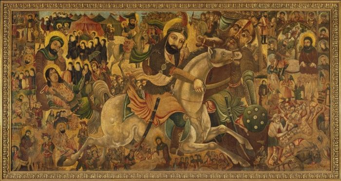 Abbas Al-Musavi. Battle of Karbala, late 19th–early 20th century. Oil on canvas, 72 x 118in. (182.9 x 299.7cm). Brooklyn Museum, Gift of K. Thomas Elghanayan in honor of Nourollah Elghanayan, 2002.6