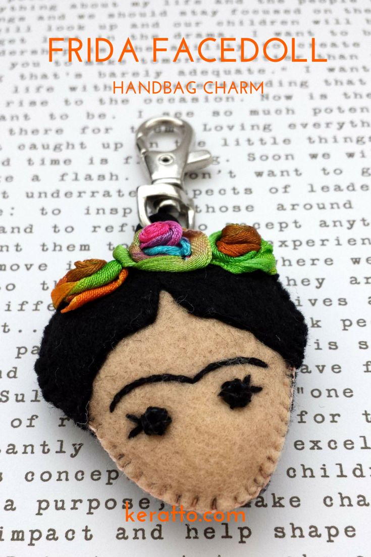 Frida Facedoll in orange and green, handmade in felt. #frida #kahlo #mexican…