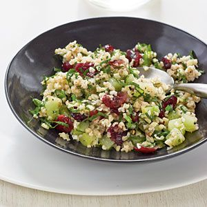 1 cup coarse-ground bulgur  2 cups (1/4-inch) cubed peeled English cucumber $  1 cup dried cranberries $  1/3 cup thinly sliced green onion  1 cup finely chopped fresh flat-leaf parsley  1 teaspoon grated lemon rind  1/3 cup fresh lemon juice  1/3 cup extra-virgin olive oil  3/4 teaspoon kosher salt  3/4 teaspoon freshly ground black pepper