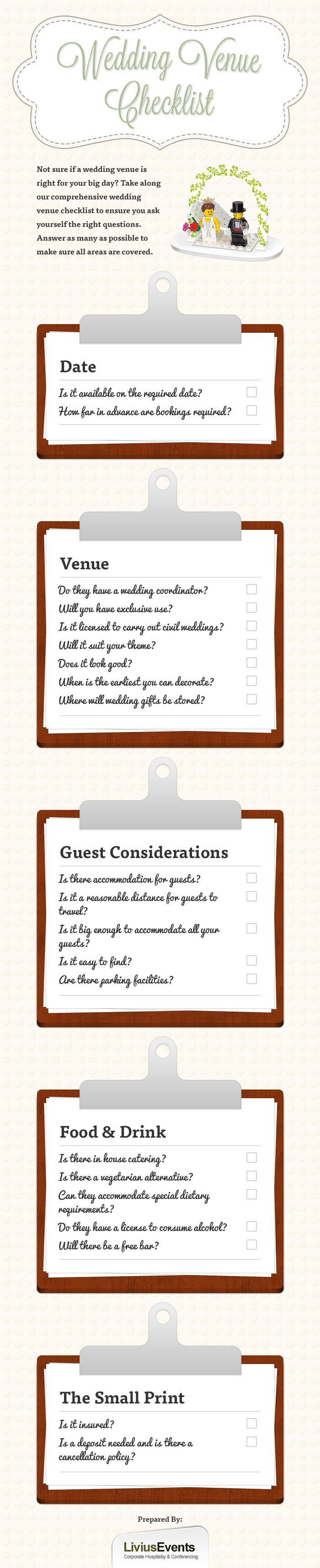 Finding the perfect wedding venue isn't always the easier task -- especially when you're planning your big day during the busy wedding season! . Print it out, and take it with you during your venue hunt to ensure you're asking the right questions and securing the right venue...