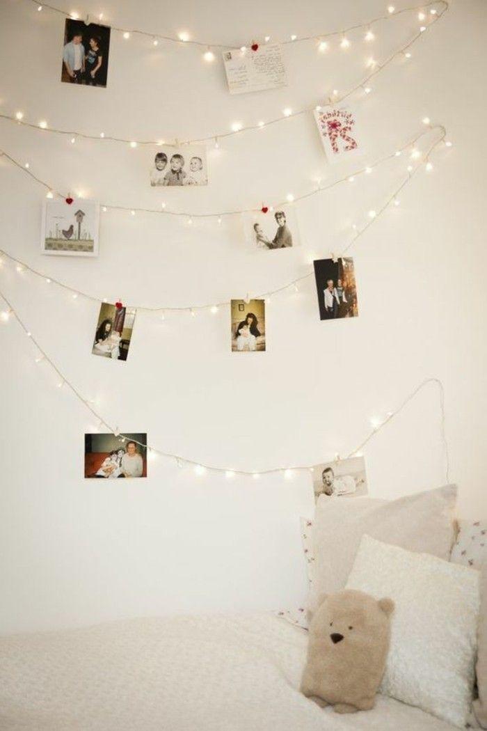guirlande lumineuse decorative sur les murs dans la chambre ado fille
