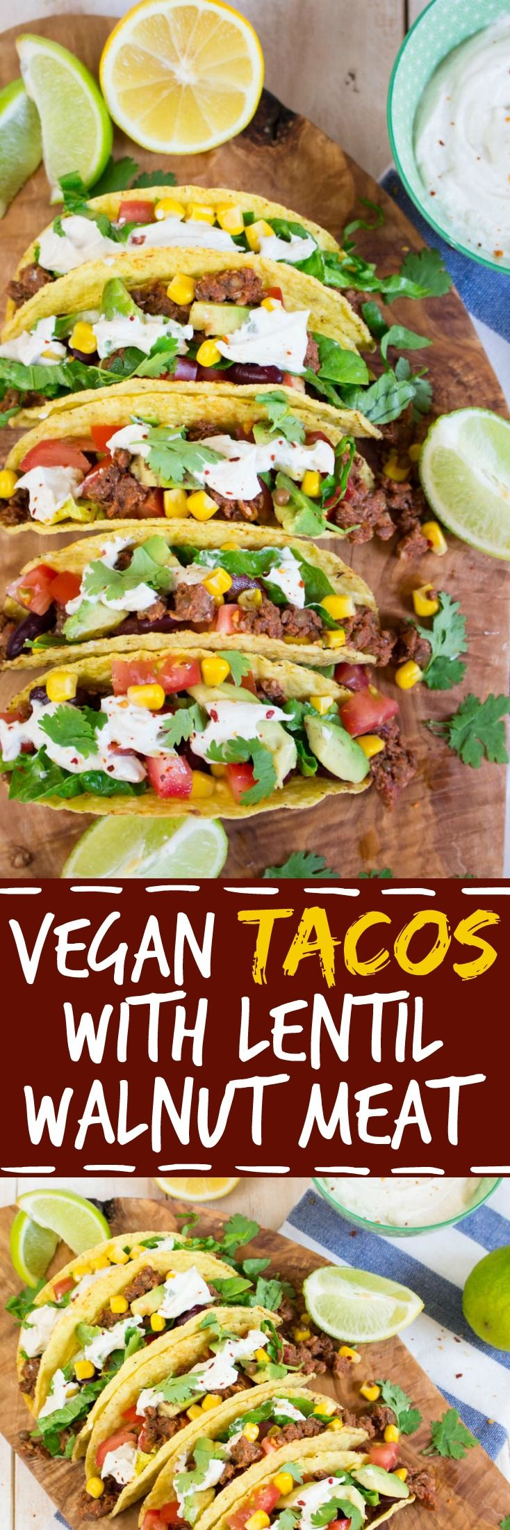Celebrate Taco Tuesday with these vegan tacos with lentil walnut meat and cashew sour cream. They're super delicious and packed with nutrients!