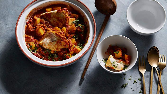 Indian-spiced fish and potato curry recipe : SBS Food